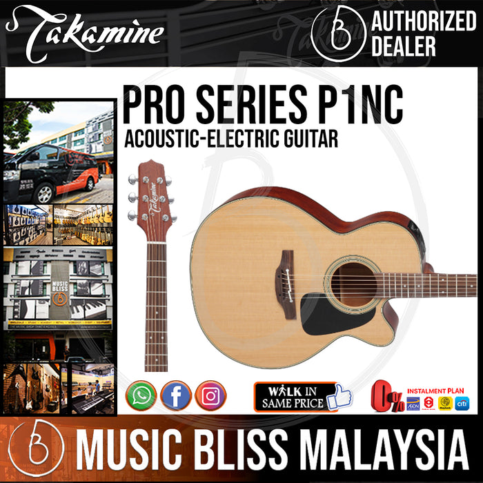 Takamine P1NC - (Natural Satin) 6-string Acoustic-electric Guitar with Cedar Top - Music Bliss Malaysia