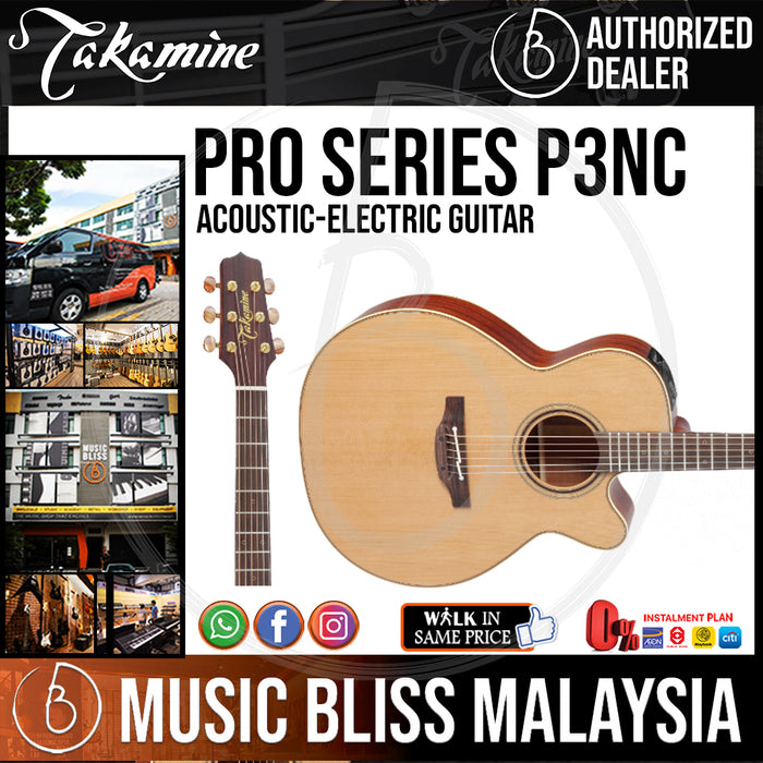 Takamine P3NC - (Natural Satin) 6-string Acoustic-electric Guitar with Solid Cedar Top - Music Bliss Malaysia