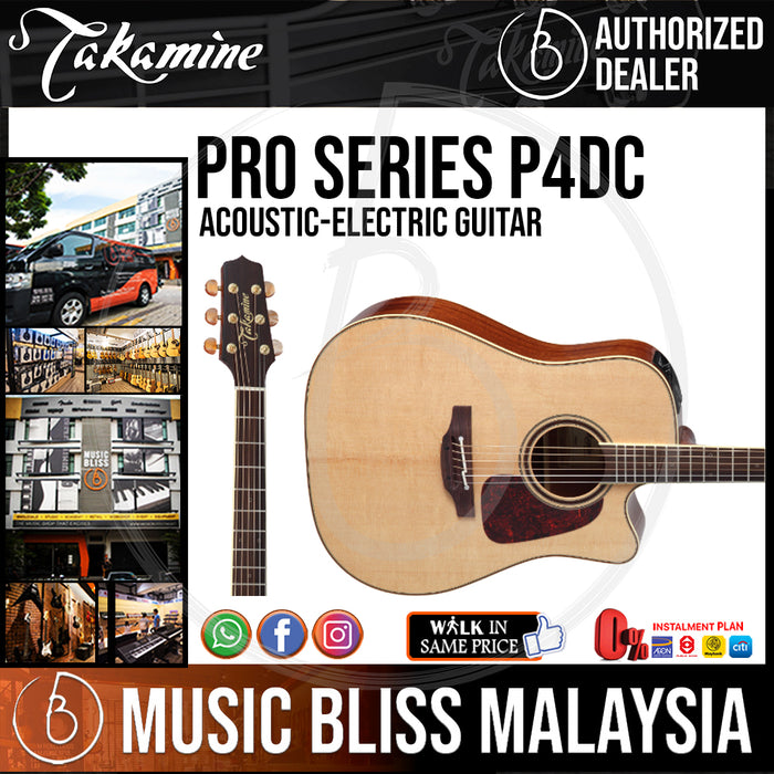 Takamine P4DC - (Natural) 6-string Acoustic-Electric Guitar with Solid Spruce Top - Music Bliss Malaysia