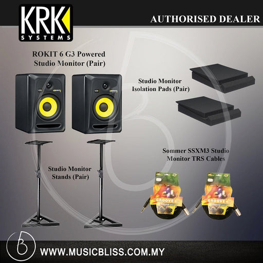 KRK RP6G3 Powered Studio Monitor (Pair) Bundle with Two  Monitors Stands, Sommer Germany TRS Cables and Isolation Pads