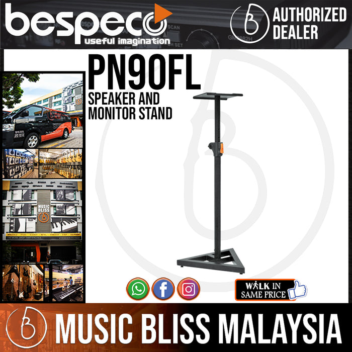 Bespeco PN90FL Speaker and Monitor Stand with Telescopic Height Adjustment (PN-90FL) - Music Bliss Malaysia