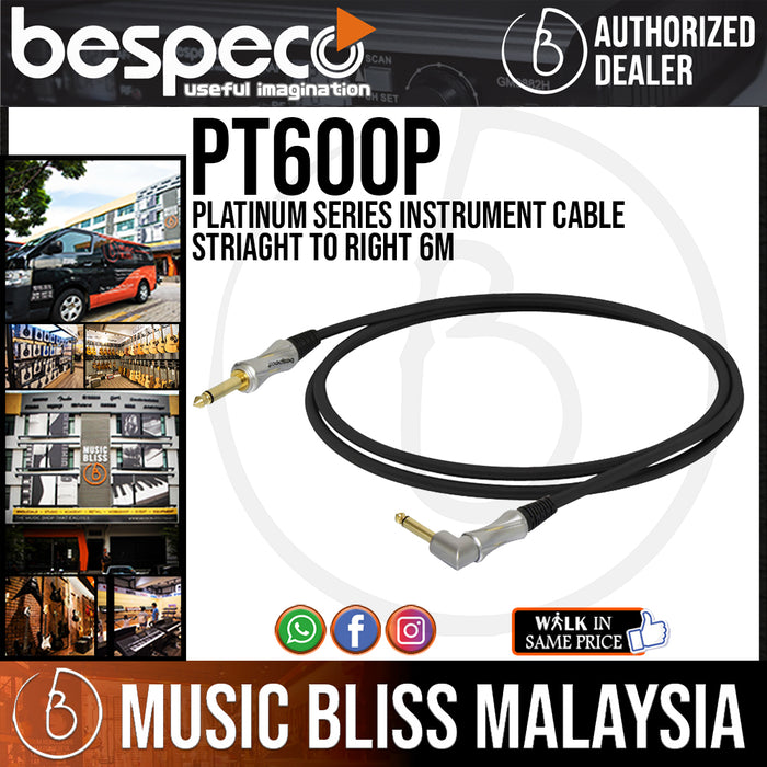 Bespeco PT600P Platinum Series Instrument Cable Straight To Right 6M (PT-600P) *Crazy Sales Promotion* - Music Bliss Malaysia