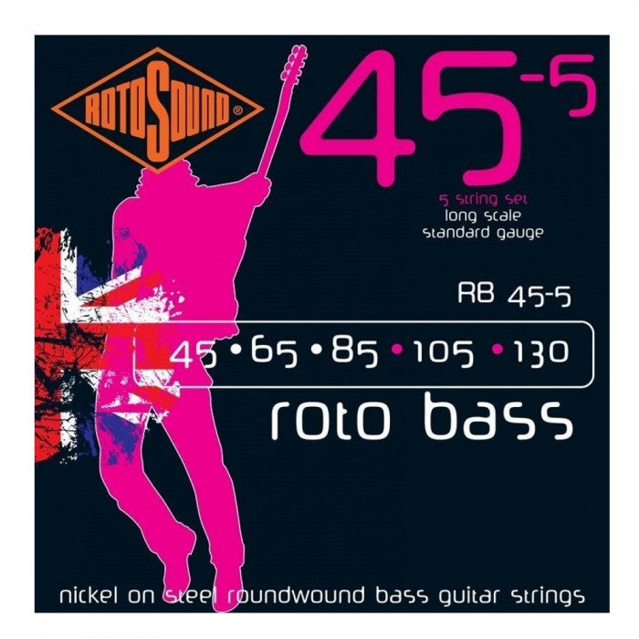 Rotosound RB455 RotoBass Nickel Wound 5-String Bass Guitar Strings (45-130)