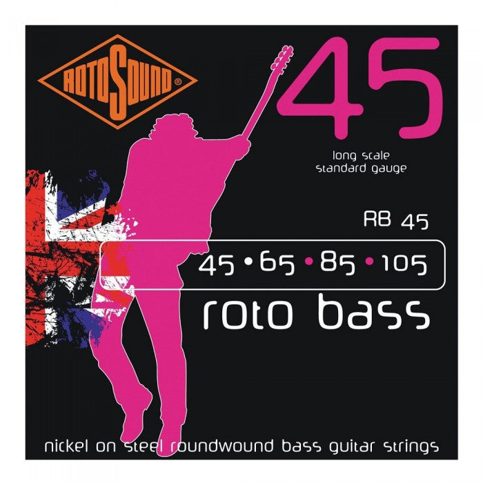 Rotosound RB45 RotoBass Nickel Wound 4-String Bass Guitar Strings (45-105)