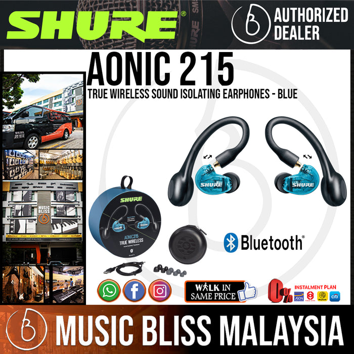 Shure AONIC 215 True Wireless Sound Isolating Earphones - Blue (SE215SPE-B-TW1) - Music Bliss Malaysia
