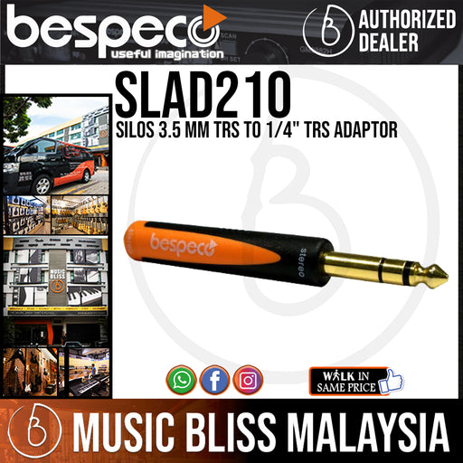 "Bespeco SLAD210 Silos 3.5 mm TRS to 1/4"" TRS Adaptor (SLAD-210) - Music Bliss Malaysia"