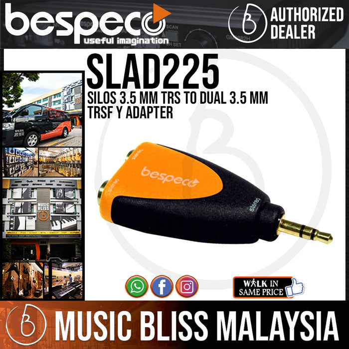 Bespeco SLAD225 Silos 3.5 mm TRS to Dual 3.5 mm TRSF Y Adapter (SLAD-225) - Music Bliss Malaysia