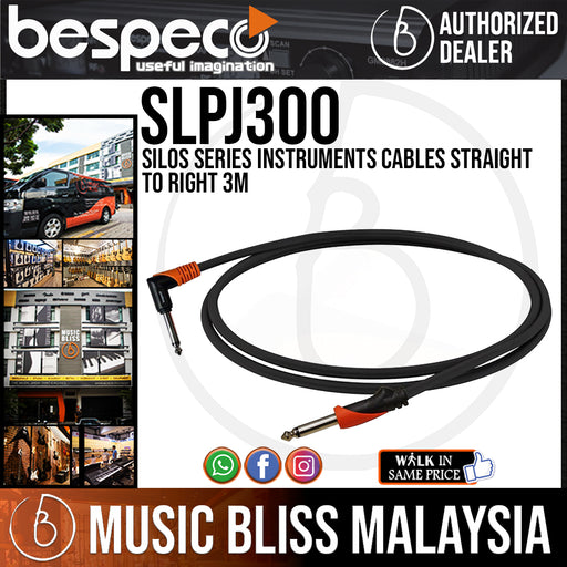 Bespeco SLPJ300 Silos Series Instruments Cables Straight To Right 3M (SLPJ-300) - Music Bliss Malaysia