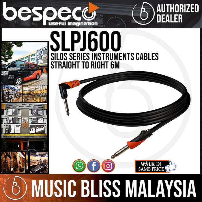 Bespeco SLPJ600 Silos Series Instruments Cables Straight To Right 6M (SLPJ-600) - Music Bliss Malaysia
