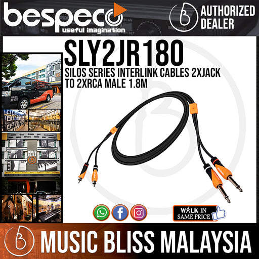 Bespeco SLY2JR180 Silos Series Interlink Cables 2XJACK to 2XRCA Male 1.8M (SLY-2JR180) - Music Bliss Malaysia