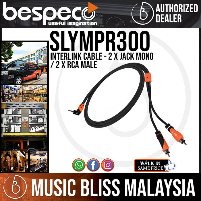 Bespeco SLYMPR300 INTERLINK Cable - 2 x Jack mono / 2 x RCA Male (SLYMPR-300) - Music Bliss Malaysia