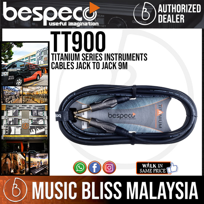 Bespeco TT900 Titanium Series Instruments Cables Jack To Jack 9M (TT-900) *Crazy Sales Promotion* - Music Bliss Malaysia