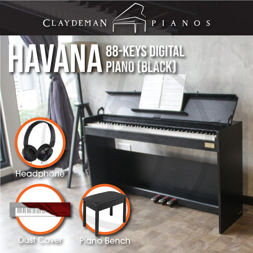 Claydeman Havana MDP-125 88-Keys Home Digital Piano - Black (Weighted Keys) - Music Bliss Malaysia