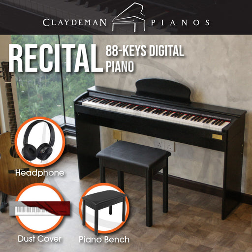 Claydeman Recital K-35 88-Keys Home Digital Piano - Black (Slim Touch Sensitive Non Weighted) - Music Bliss Malaysia