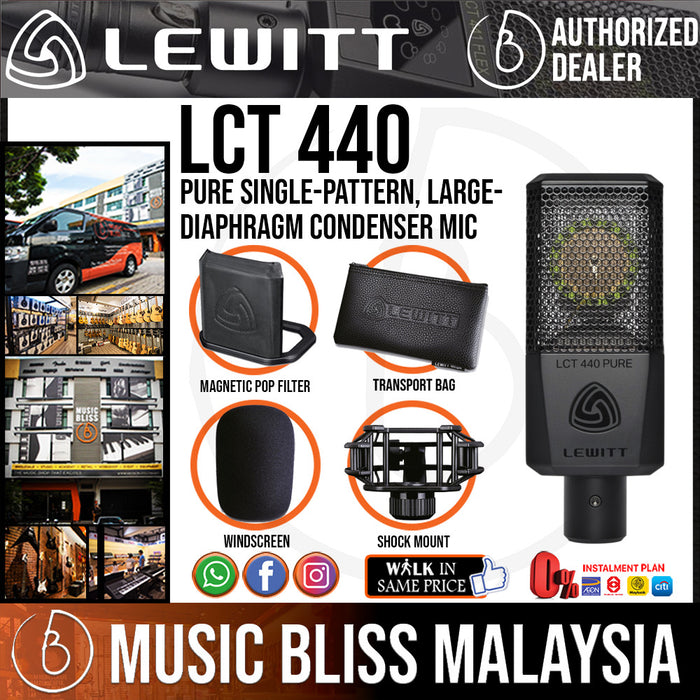 Lewitt LCT 440 Pure Single-Pattern, Large-Diaphragm Condenser Microphone (LCT-440 / LCT440) *Crazy Sales Promotion* - Music Bliss Malaysia