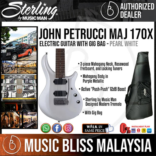 Sterling John Petrucci MAJ170X Electric Guitar with Gig Bag - Pearl White (MAJ-170X) - Music Bliss Malaysia