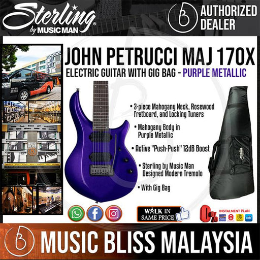 Sterling John Petrucci MAJ170X Electric Guitar with Gig Bag - Purple Metallic (MAJ-170X) - Music Bliss Malaysia