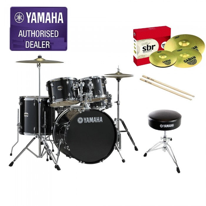 Yamaha Gigmaker 5-piece Beginner Drum Set Black with 22inch Bass Drum and Sabian SBR Cymbals Performance Set *Include 4-Pieces Cymbal Set (14HH 16CRASH 20RIDE)Drumsticks and Drum Stool*