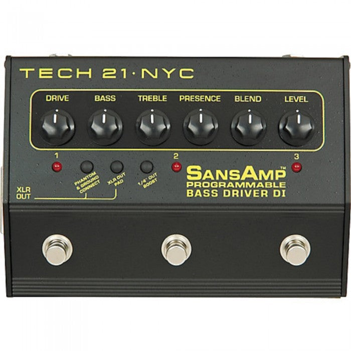 Tech 21 SansAmp 3-Channel Programmable Bass Driver DI Effects Pedal - Music Bliss Malaysia