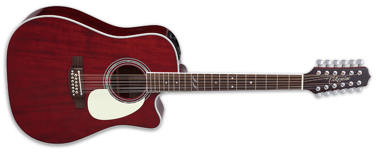 Takamine JJ325SRC-12 John Jorgenson 12-String Acoustic-Electric Guitar - Gloss Red - Music Bliss Malaysia