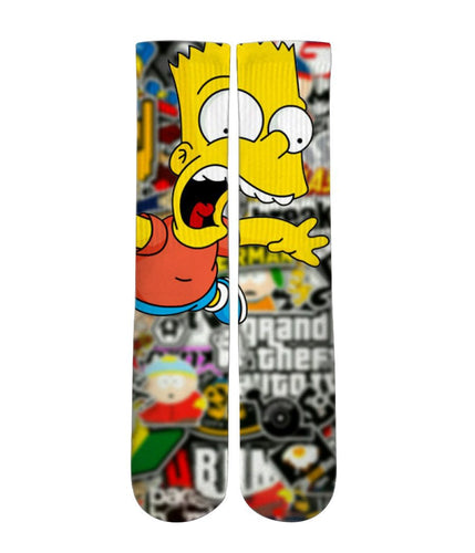 Bart Simpson mash up Socks-Custom Elite Crew socks - Dope Sox Official-Elite custom socks