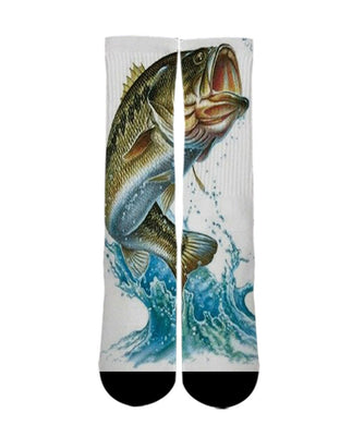 Animal Print Socks-Bass Fishing sock design-Custom Elite Crew socks elite socks- athletic customized socks
