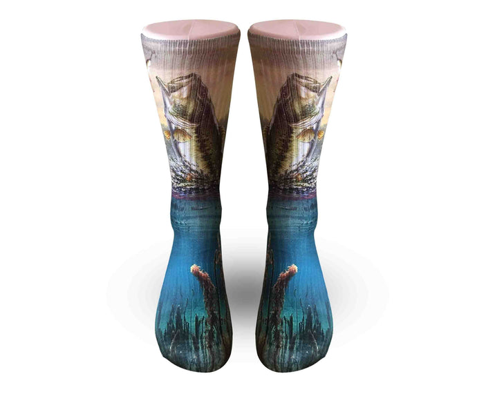 Bass Fishing Socks-Men Women and kid sizes-FREE SHIPPING - Dope Sox Official-Elite custom socks