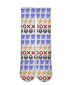 Emoji Printed Socks-Emoji sock design-Custom Elite Crew socks elite socks- athletic customized socks