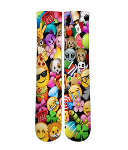 Emoji icon mash up Elite printed crew socks - Dope Sox Official-Elite custom socks