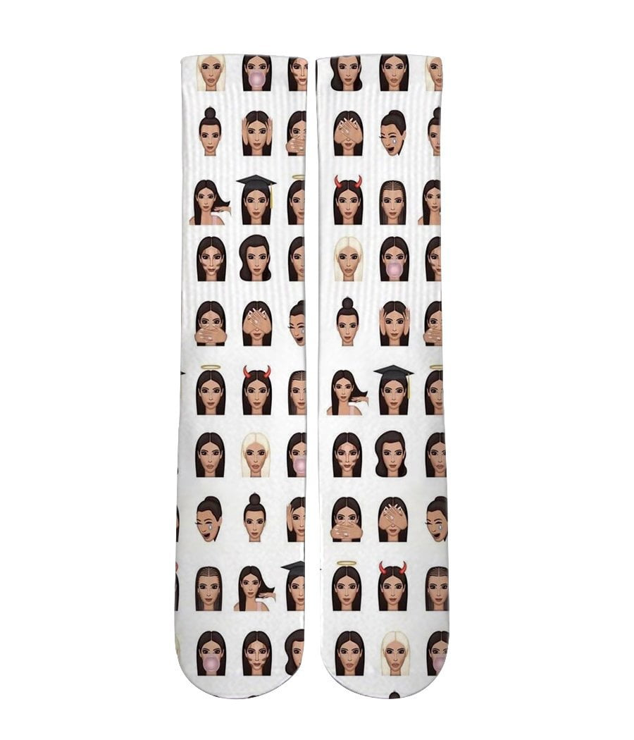 Kim K Emoji mash up Elite printed crew socks - Dope Sox Official-Elite custom socks