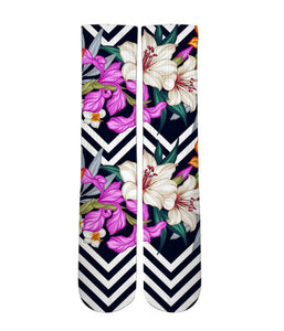 Floral pattern printed graphic socks