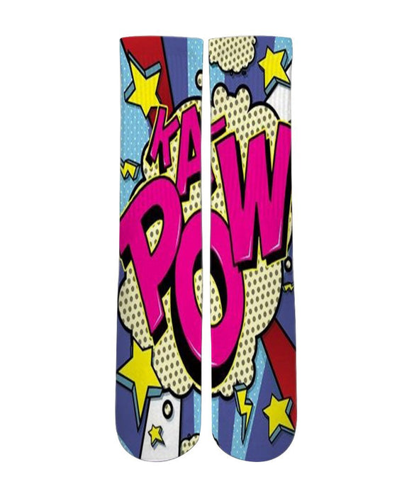 Kapow pop art printed crew socks