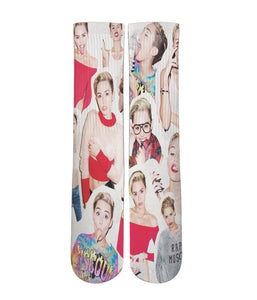 Miley Cyrus all over printed crew socks - Dope Sox Official-Elite custom socks