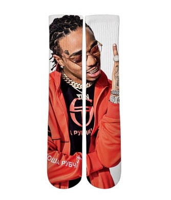 Quavo printed crew socks - Dope Sox Official-Elite custom socks