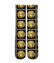 Versace gold Medusa pattern printed graphic socks