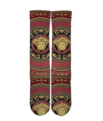 Versace Red printed crew socks - Dope Sox Official-Elite custom socks
