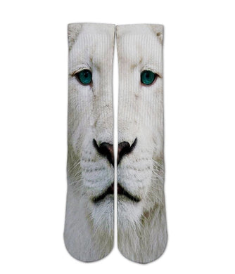 animal printed socks white lion