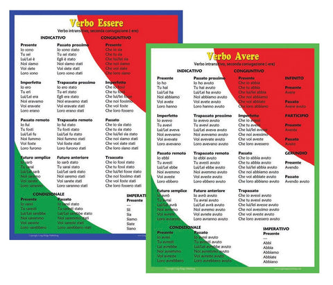 Italian Language School Poster Set - Verbs in Italian: Essere and Avere, 2 Wall Charts