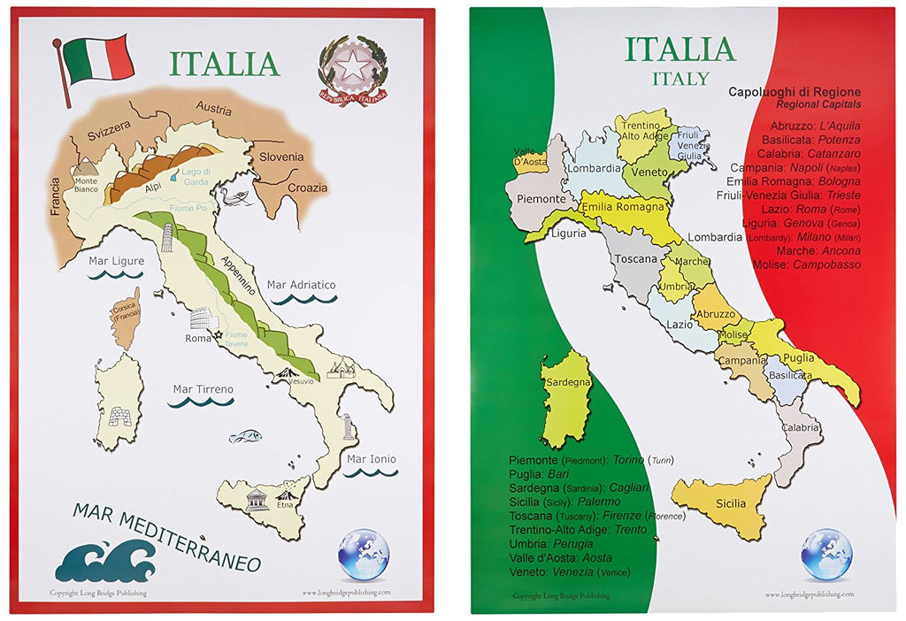 Map Of Italy In English.Maps Of Italy Set Of 2 Available In Two Sizes