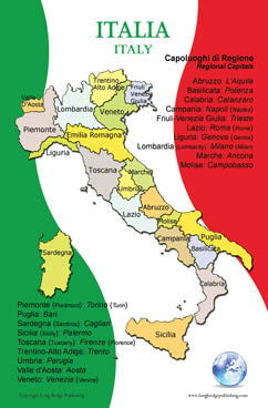 English Map Of Italy.Italian Language Poster Map Of Italy And Its Regions Bilingual Chart For Classroom And Playroom
