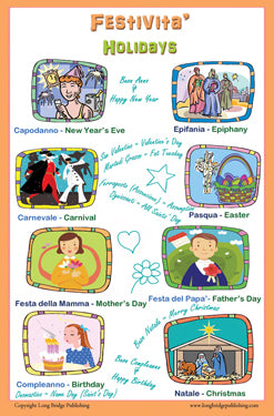 Italian Language Poster - Festivita'/ Holidays: Bilingual Chart for Classroom and Playroom