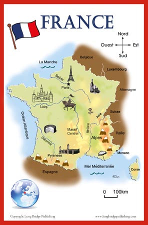 Map Of France In French.French Language School Poster Simplified Map Of France