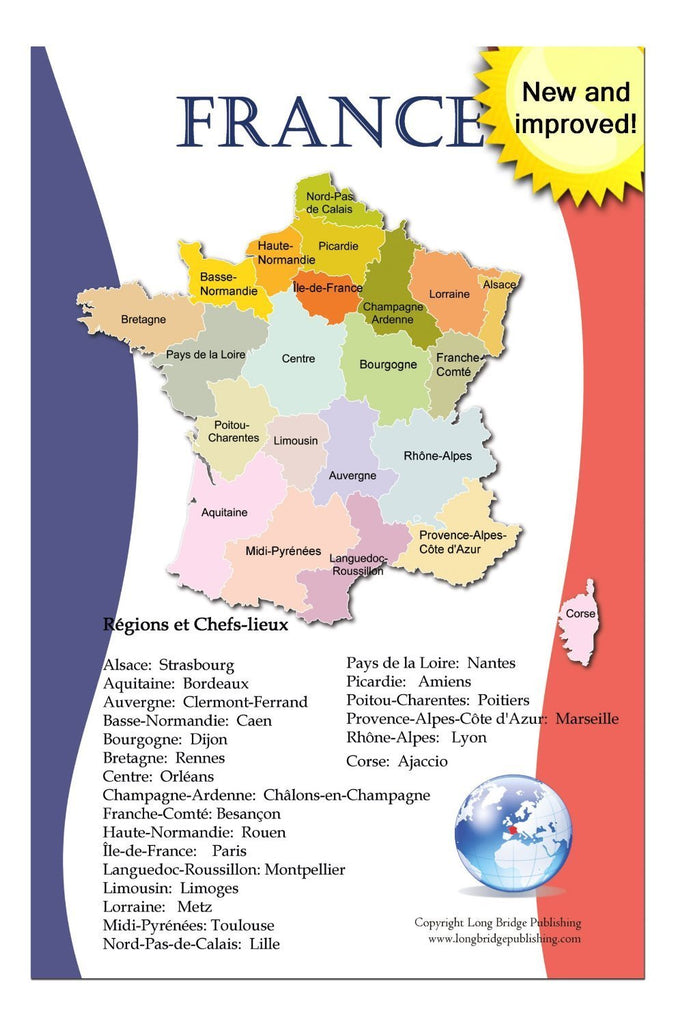 Map Of France Poster.French Language School Poster Map Of France With Regions And Regional Capitals