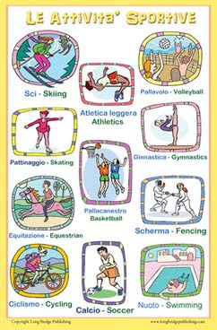 Educational bilingual poster: Le Attivita' Sportive (Sports)