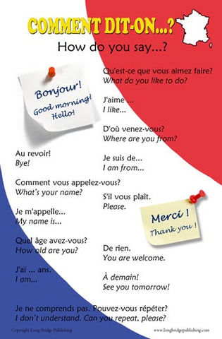 French Language Poster - Greetings and Common Phrases, Bilingual Chart