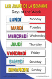 French language school poster - Days of the week in French with English translation