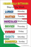Educational bilingual poster: I Giorni della Settimana (Days of the Week)