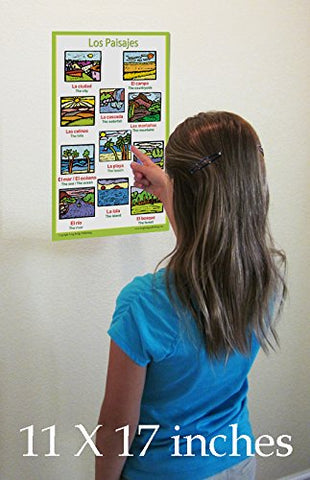 Spanish Language School Poster - Landscapes/Paisajes -  Wall chart for home and classroom - Bilingual: Spanish and English text