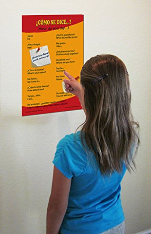 Spanish Language School Poster - Common greetings and phrases- Wall chart for home and classroom - Bilingual: Spanish and English text