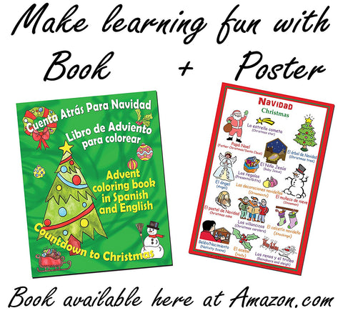 Spanish language school poster: Christmas - Navidad (bilingual Spanish-English)